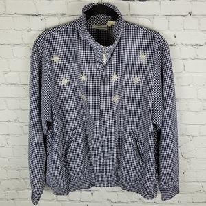 ALFRED DUNNER   seersucker zip star sequin jacket